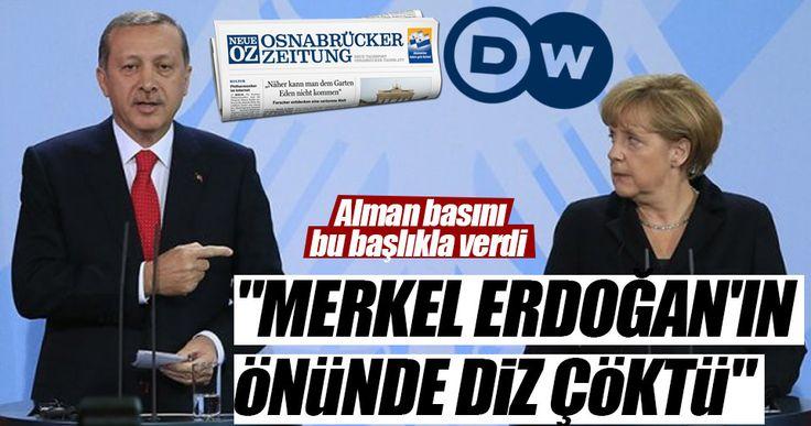"""Alman Zeitung gazetesi, Türkiye-Almanya ilişkilerini sayfalarına taşıdı. Haberde, """"Başbakan Merkel, Türkiye Cumhurbaşkanı Erdoğan'ın önünde diz çöktükten iki gün sonra Ankara'dan olumlu haberler geldi"""" şeklinde ifadeler yer aldı."""