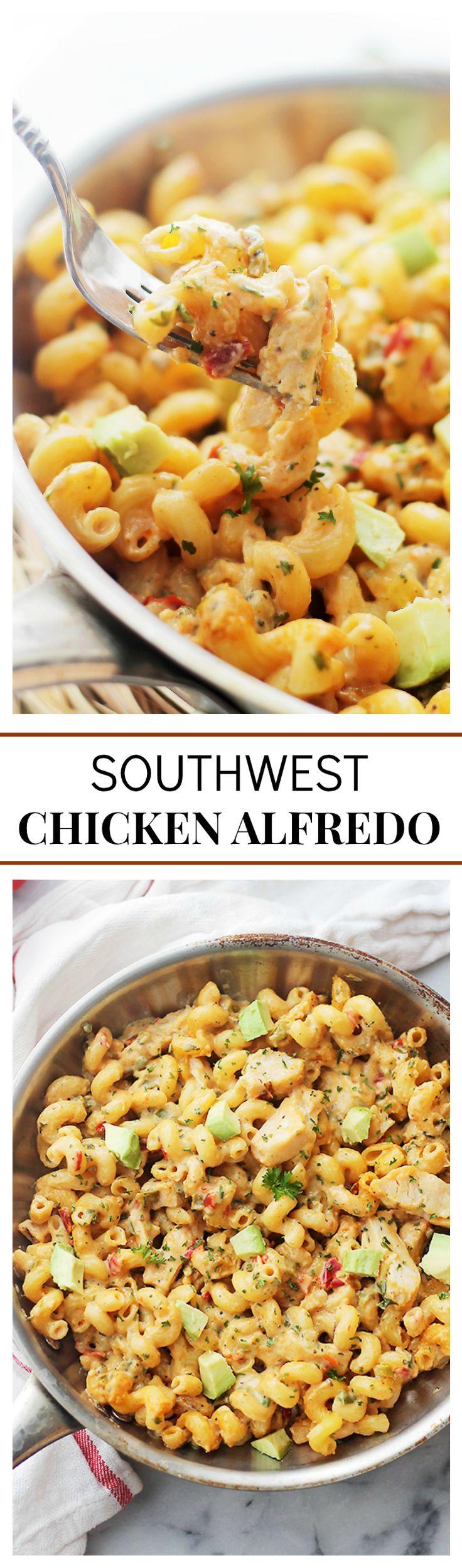 Southwest Chicken Alfredo | www.diethood.com | Easy, creamy and delicious pasta dish with spicy chicken, veggies, homemade alfredo sauce and cavatappi pasta. SO darn good!!