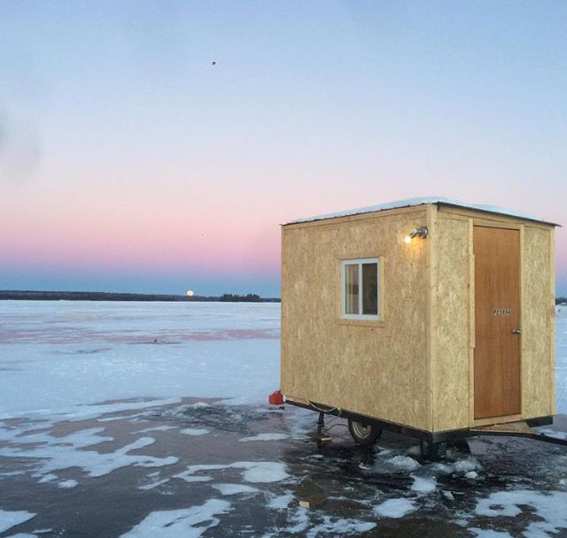 Ice Fishing Hut Built On A Small Trailer Fishing