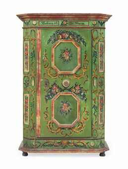 Alpine Polychrome Painted Pine Armoire, Late C