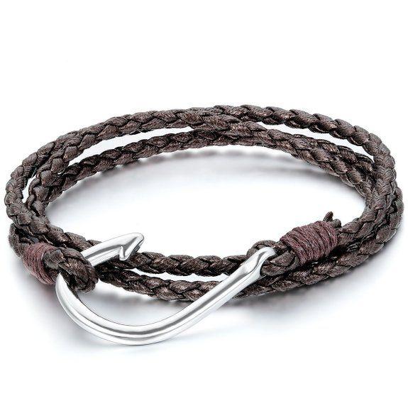 JewelryWe Schmuck Herren Damen Armband, Geflochten Angelhaken Armreif, Leder Legierung, Braun Silber