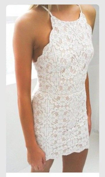 White Lace Homecoming Dress, Style Tight Sexy Prom Dress, Halter Classy Homecoming Dress