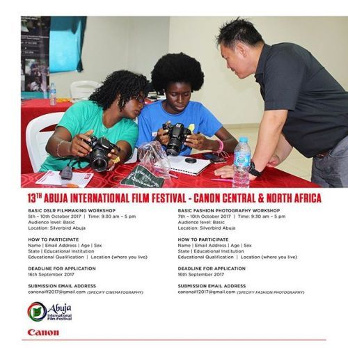 Get trained by the pros! Register today for a Basic DSLR Filmmaking Workshop by#CanonCNAat the 13th Abuja International Film Festival Nigeria. Applications close 16 September. via Canon on Instagram - #photographer #photography #photo #instapic #instagram #photofreak #photolover #nikon #canon #leica #hasselblad #polaroid #shutterbug #camera #dslr #visualarts #inspiration #artistic #creative #creativity