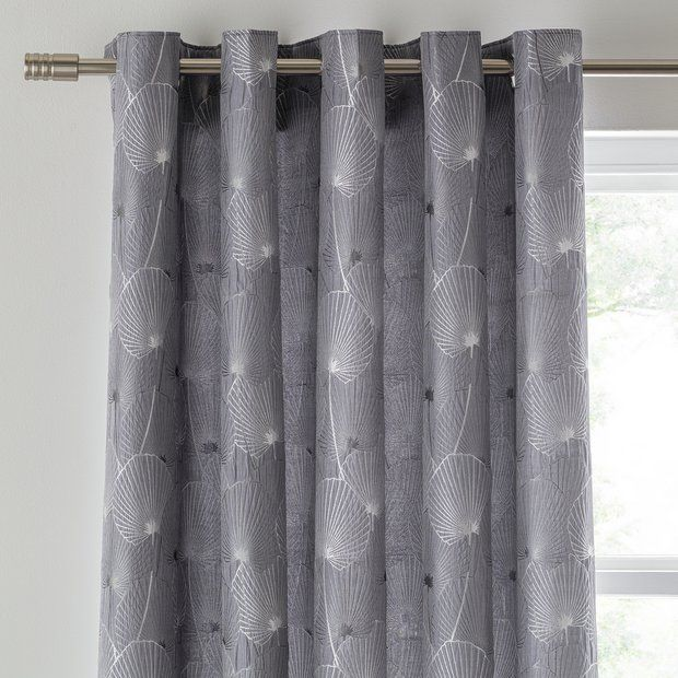 Buy Argos Home Jacquard Fully Lined Eyelet Curtains Charcoal Curtains Argos Argos Home Charcoal Curtains Curtains