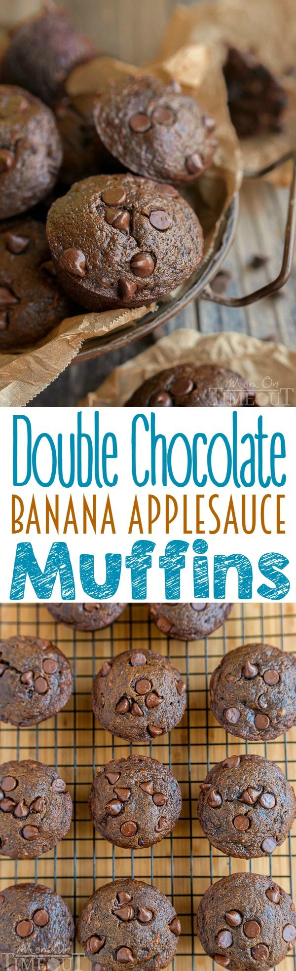 Double Chocolate Banana Applesauce Muffins are perfect for those days when you wake up craving chocolate. Easy, delicious and made without oil, butter, or eggs. The perfect breakfast or brunch recipe! | MomOnTimeout.com | #vegetarian #vegan