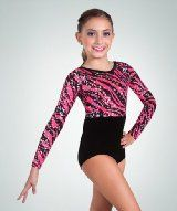 Amazon.com: Body Wrappers 2315 Girls Metallic Stipple Long Sleeve Gymnastics Leotard: Sports & Outdoors