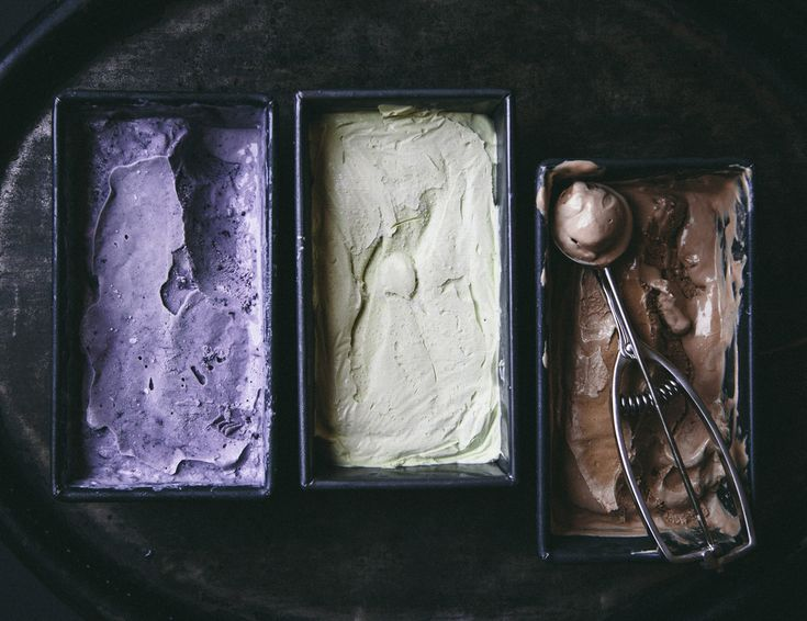lavender blueberry, vanilla matcha, and coffee no-churn ice cream: