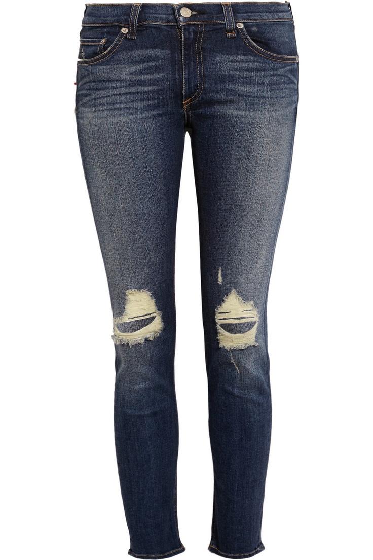 rag & bone JEAN|Distressed mid-rise skinny Capri jeans|NET-A-PORTER.COM
