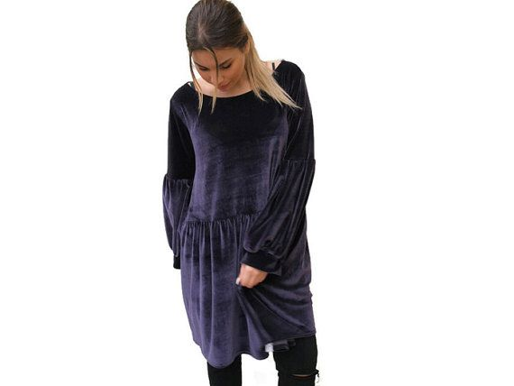 Purple velvet tunic / Women Oversize Tunic / by PepperFashion