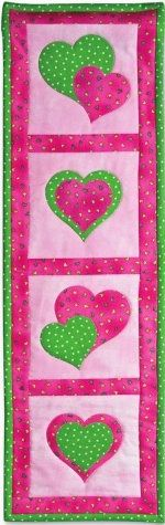Cute - hang for February? #Applique Hearts Quilted Wall Display #quilt tutorial from AccuQuilt