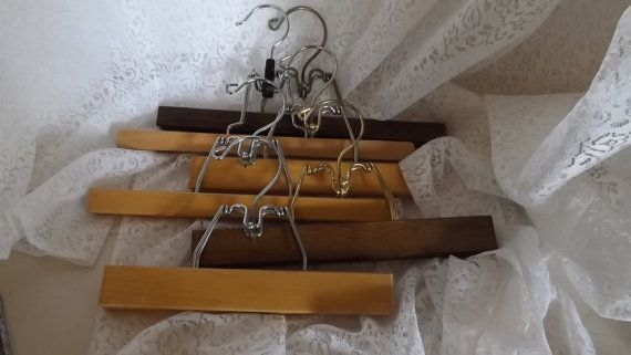 6 wooden pants hangers slat hangers antique by LaVintageByMissPJ55, $25.00