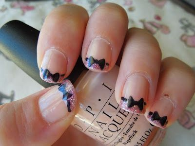 Bow Tie French Tip nails