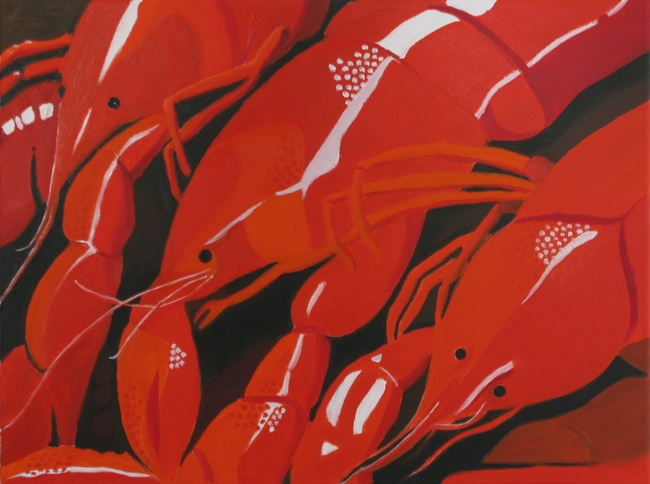 'Crayfish' oil on canvas 450x600mm. Sold.
