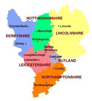 Leicestershire Uk Map.East Midlands Map Lincolnshire Nottinghamshire Derbyshire