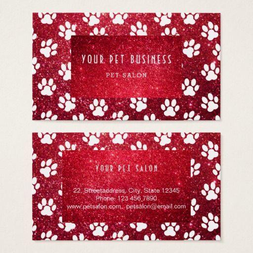 dark red glitter pet services business card