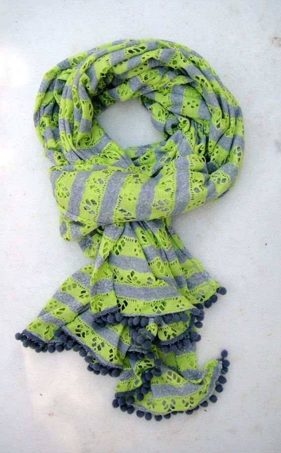Women cotton scarf with pon pon edges summer by athanasiaCREATIONS