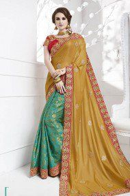 Silk Party Wear Saree In Green And Mustard Colour
