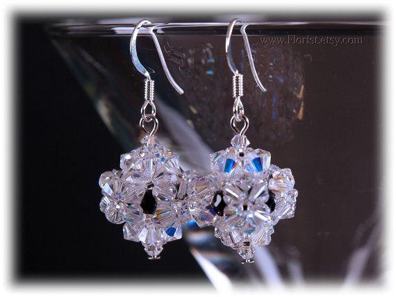 on SALE 50%  Beaded Swarovski Crystal Earrings by JewelrybyFlorist