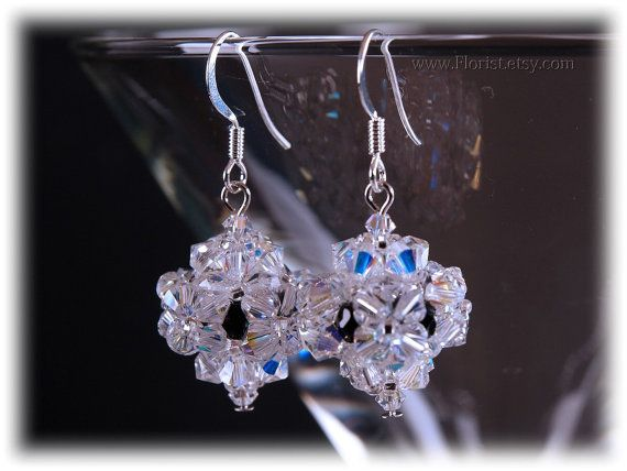 on SALE 50%  Beaded Swarovski Crystal Earrings by JewelrybyFlorist