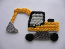 Bagger - Häkelapplikation (excavator, construction, equipment, digger, flat crochet)