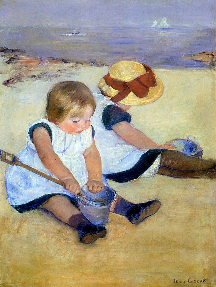 "Cassatt Mary - Children By Shore 1885  (from <a href=""http://www.oldpainters.org/picture.php?/51003/category/16491""></a>)"