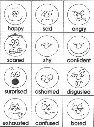 Emotions cards-from Teacher Treasures-Mary's Freebie Page....could use with sun expressions project