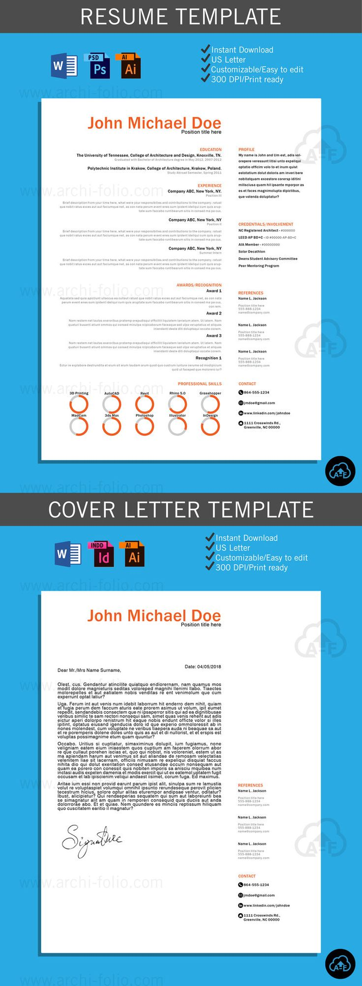 resume minimal 2 theme customizableprofessional architecturegraphic design