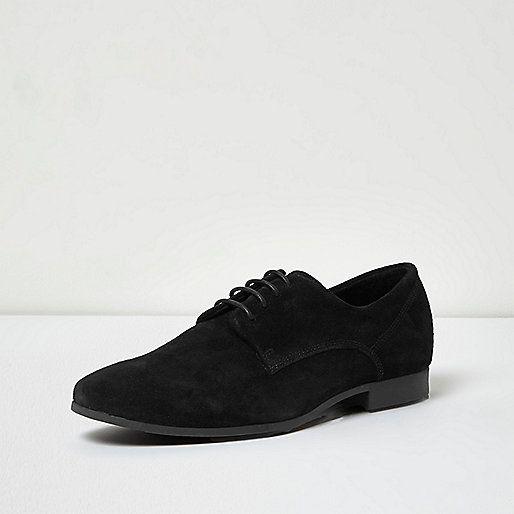 Zwarte nette suède derby schoenen - nette schoenen - schoenen / laarzen - heren