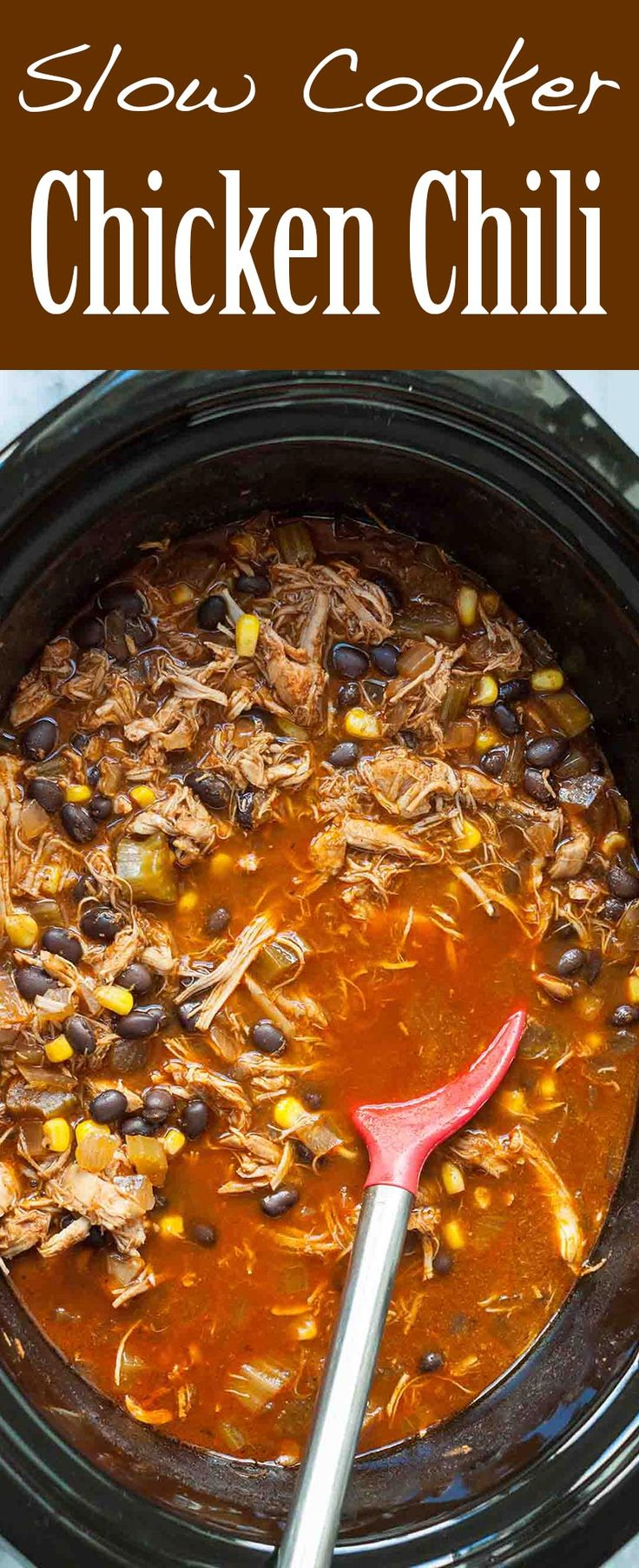 Slow Cooker Shredded Chicken Chili is perfect for busy weeks! Made with chicken thighs or breasts, onions, celery, black beans, frozen corn, chicken broth, tomato puree, and spices. So EASY!