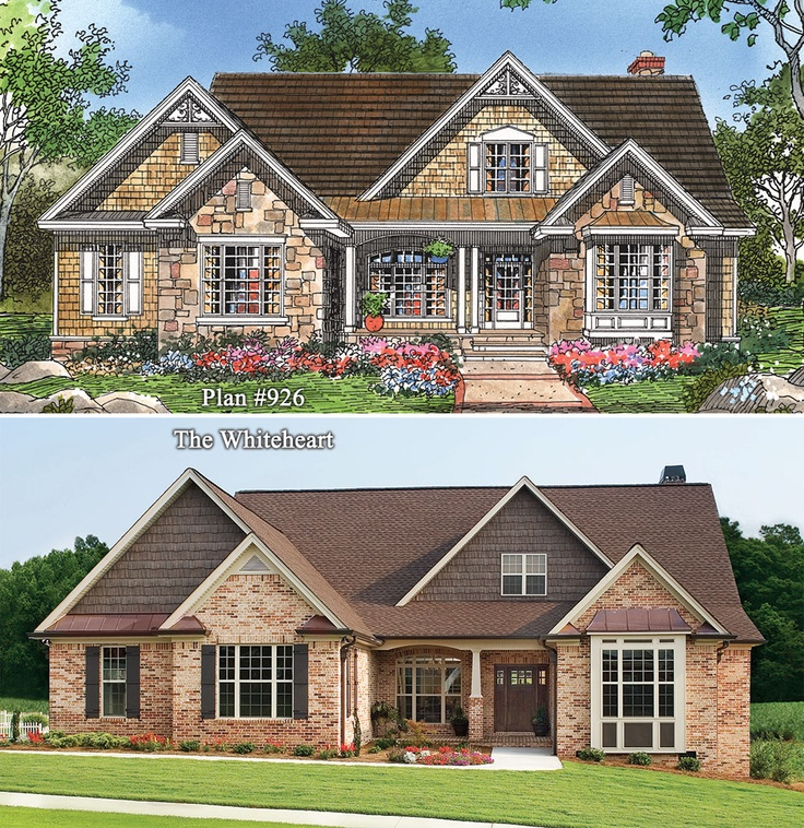 23 best two tone brick stone house exteriors images by for Single story brick house plans