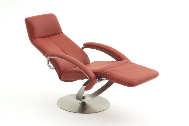 Red leather recliner designed by Danish furniture Designer Steen Ostergaard, using the Body-Balance system which was invented in 1988 by. A unique design with the function of the foot part. The Benefit from this is more space in the room compared to a free standing footrest. The base is solid brushed stainless steel and it swivel 360 degree.  Cover in Leather or Micro fiber, many color options available. Adjustable in any position, with your own weight you can stop in any reclining position.