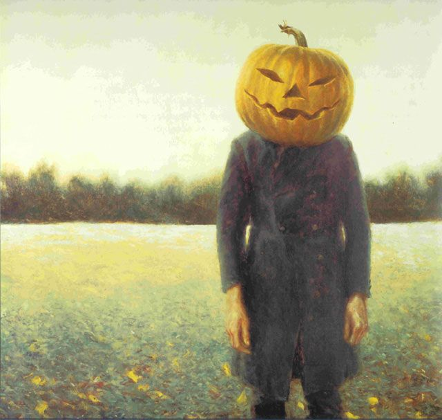 What is the person's true emotion under the pumpkin head, which looks angry and…
