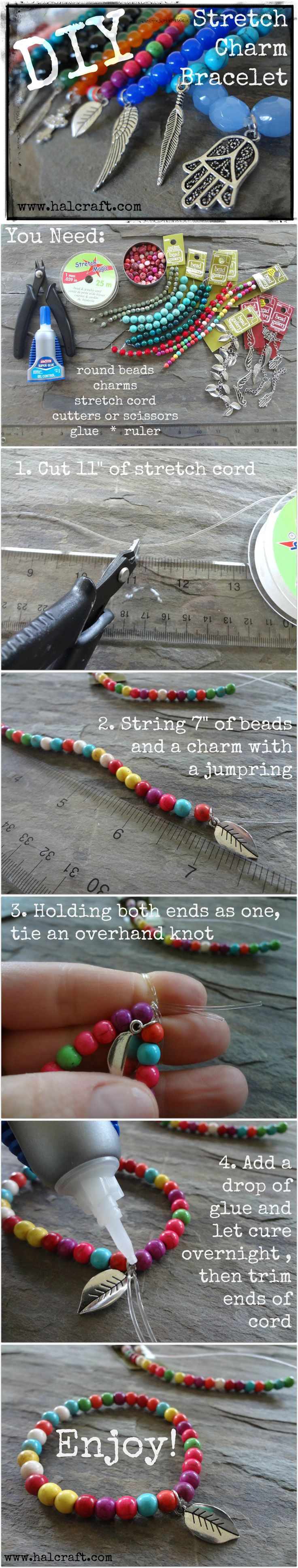 Learn how to make stretch charm bracelets and tie a knot that holds with this photo tutorial! Visit http://www.halcraft.com/step-by-steps/how-to-stretch-bracelets/ for more tips and tricks!