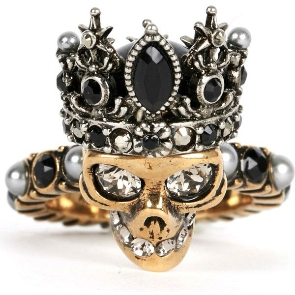 ALEXANDER MCQUEEN Crowned skull ring ($355) ❤ liked on Polyvore featuring jewelry, rings, alexander mcqueen, band rings, antique gold jewellery, carved rings and antique gold rings