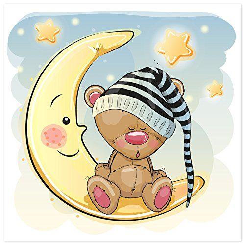 Poster für Kinderzimmer - Bärchen mit Schlafmütze   Poster für ...