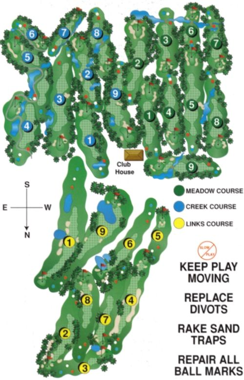 Sunnybrae Golf Club: Port Perry / Prince Albert, Ontario.  We feature 3 wonderful Courses: Meadow | Creek | Links Our traditional 9 hole Meadow Course has total yardage of 2923 yards, with one par 3; seven par 4's and one par 5.  The 9 hole Creek has 2985 yards, with two par 3's; six par 4's and one par 5.  The 9 hole Links Course has 3029 yards, with two par 3's; five par 4's and 2 par 5's