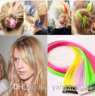 горячая продажа красочный популярные цветные клип On In наращивание волос прямые волосы и цвет волос парика