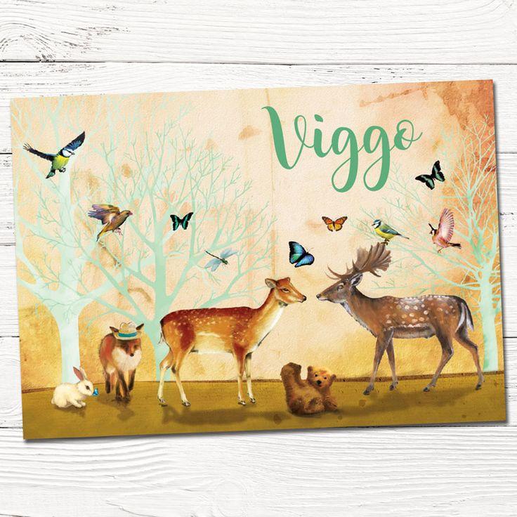 Geboortekaartje op maat Viggo met dieren in het bos - aangepast geboortekaartje Anna uit vast aanbod | illustratie | babykaartjes | design | indie | dieren | vos | hert | beer