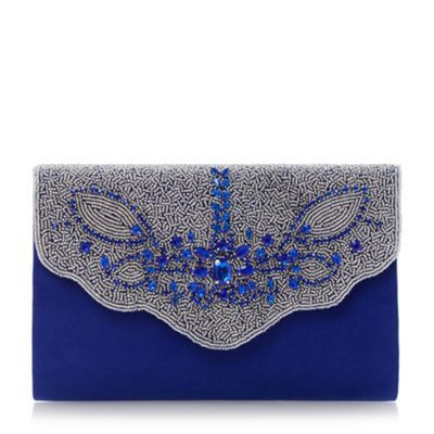 Roland Cartier Blue embellished fold over clutch bag- at Debenhams.com
