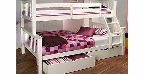 Limelight Beds Limelight Pavo White Three Sleeper Bunk Bed The White Three Sleeper Versatile sleeper with 3ft bed on top and 4ft bed on bottom Made from durable New Zealand pine Slatted base Height: 198cm (66) Double bunk width 133cmSingle bunk width 100cmLe http://www.comparestoreprices.co.uk/bunk-beds/limelight-beds-limelight-pavo-white-three-sleeper-bunk-bed.asp