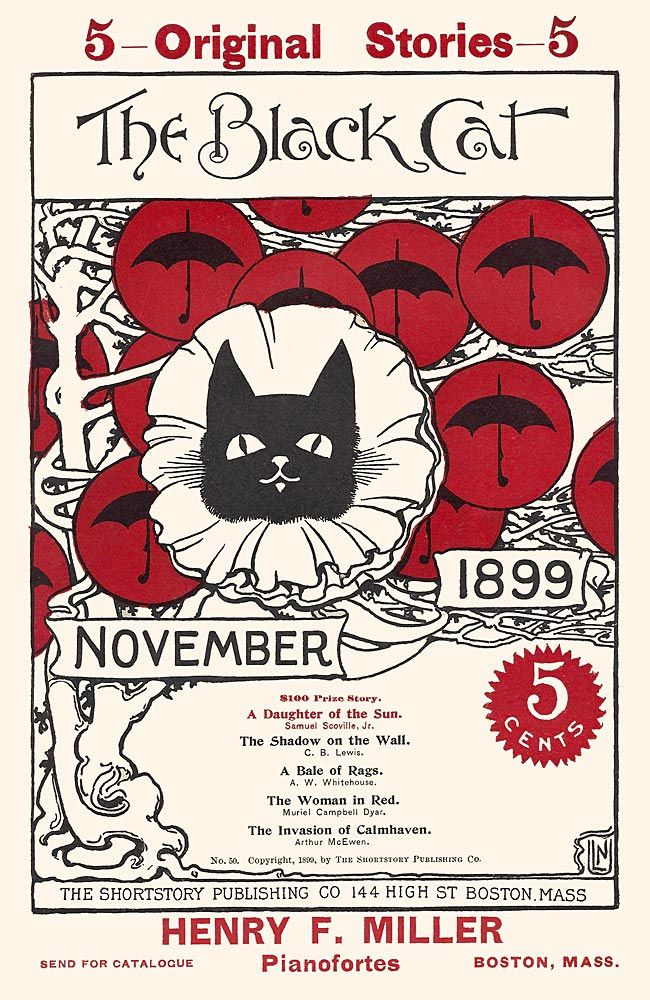 Black Cat magazine. Cover Nov. 1899 . Black Cat with umbrellas in red circles like tree fruits by Nellie Littlehale Umbstaetter