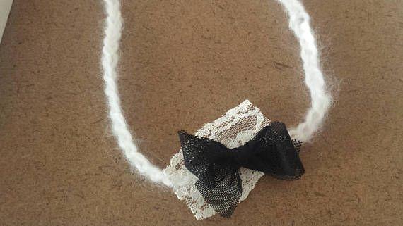 Lace bow headband for babies.  Tie Back Headband.  Photo props handmade.