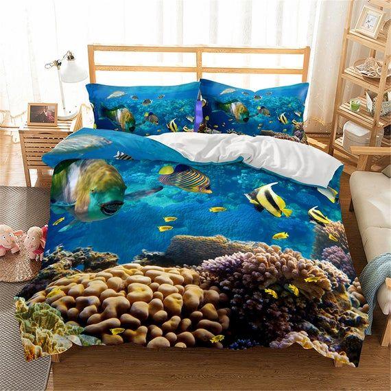 3D Sea World Shark Bedding Set Duvet Cover Quilt Set Pillowcases Cover