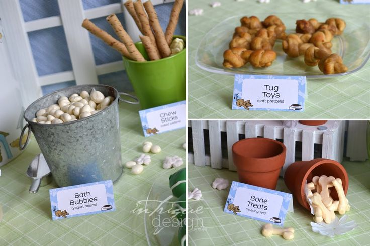 "Great themed snacks included in this post: bones, ""rawhide"" chews (chips), tug toys (soft pretzels), mini corn dogs and more!"