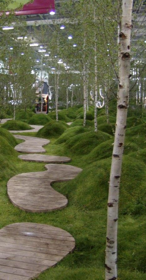 Grand Designs ~ Diarmuid Gavin show garden ~ this is a fun idea! Grassy little hills everywhere ~ little pathway islands to lead you through it all!