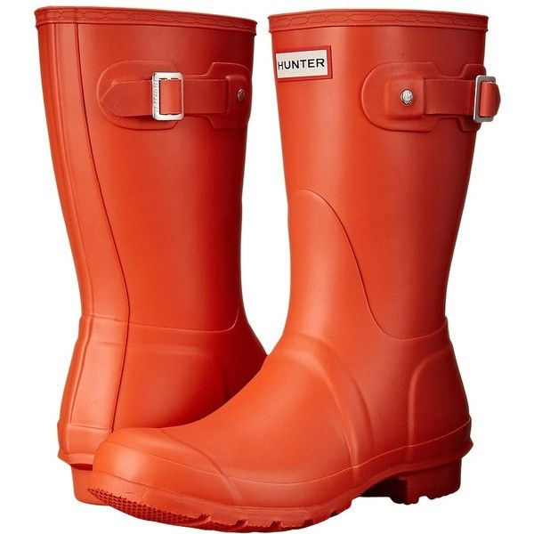 Hunter Original Short Women's Rain Boots ($140) ❤ liked on Polyvore featuring shoes, boots, wellington boots, buckle boots, rubber boots, short boots and platform shoes