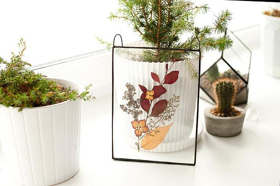 Scandinavian decor real barberry and hydrangea stained glass