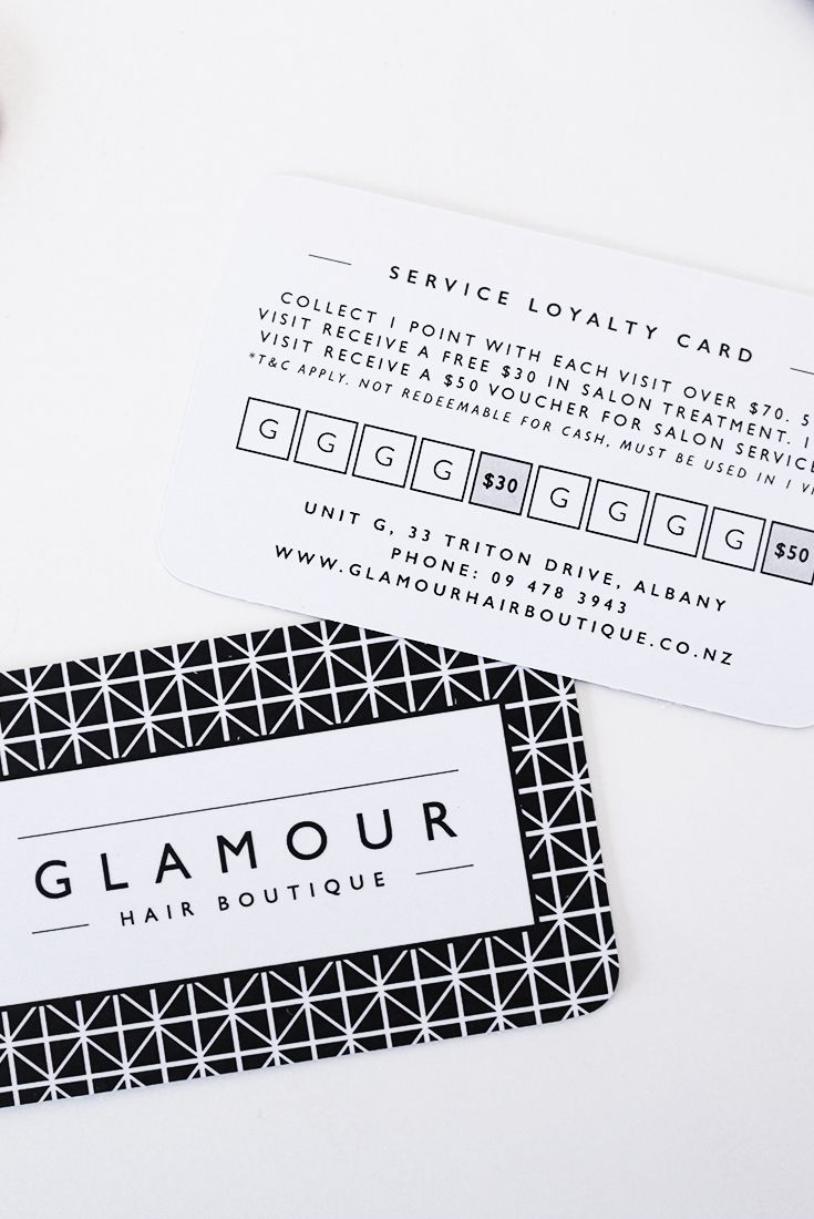 Project spotlight glamour hair boutique graphic design group service loyalty cards for glamour hair boutique salon in albany auckland new zealand reheart Image collections