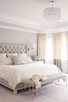 eleganten Pastellfarben kleines Schlafzimmer Dekor #schlafzimmer