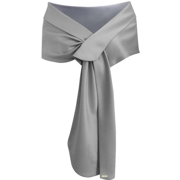 Silver Satin Evening Shawl Wrap (2,035 INR) ❤ liked on Polyvore featuring accessories, scarves, shawls, wrap, lightweight, silver, wrap shawl, silver shawl, wrap scarves and evening wrap shawl